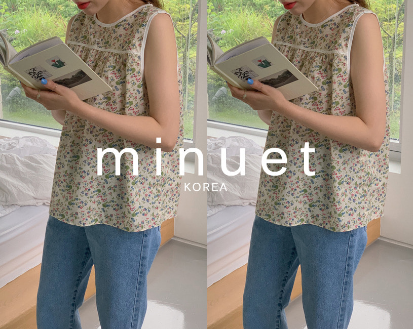 [minuet] Treeming sleeveless blouse (cream)
